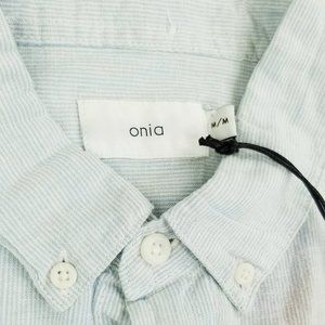 Onia Sz Medium Safari Sky Micro Stripe Jack Shirt